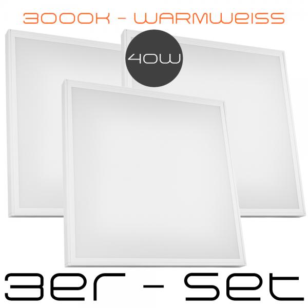 3er Set 40W LED Aufbaupanel inkl. Aufbaurahmen - 62 x 62 cm - Extrem Leistungsstark und extra flach - Eckig - Quadratisch - LED Panel - Warmweiß - 3000K - 620 x 620 mm