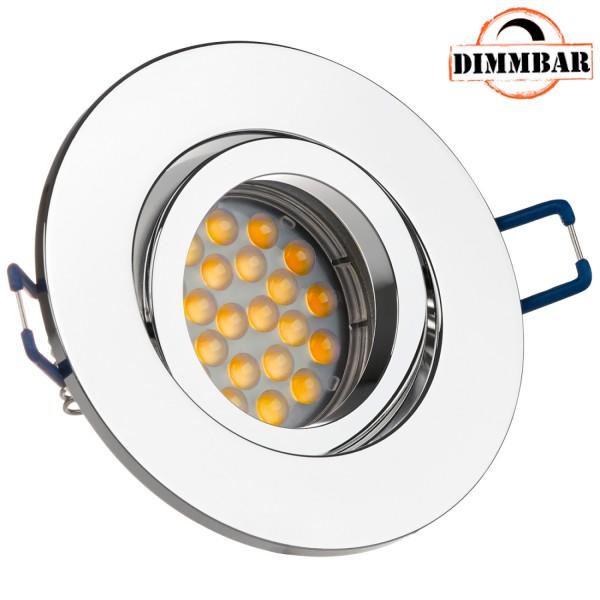 LED Einbaustrahler Set für die Spanndecke Chrom mit LED GU10 Markenstrahler von LEDANDO - 5W DIMMBAR - warmweiss - 60° Abstrahlwinkel - 50W Ersatz - A+ - LED Spot 5 Watt - Einbauleuchte LED rund