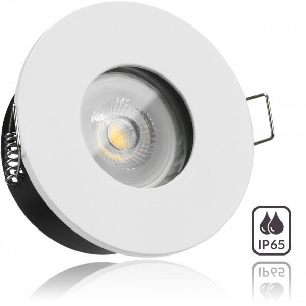 IP65 LED Einbaustrahler Set Weiß mit LED GU10 Markenstrahler von LEDANDO - 7W - warmweiss - 30° Abstrahlwinkel - Feuchtraum / Bad - 50W Ersatz - A+ - LED Spot 7 Watt - Einbauleuchte rund