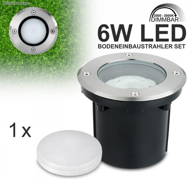 LED Bodeneinbaustrahler Set mit tauschbarem 6W LED GX53-Leuchtmittel - DimToWarm 200-3000K - warmweiß - rund - IP65 - Blende Edelstahl  [Bodeneinbauleuchte Bodenleuchte Bodenlampe]