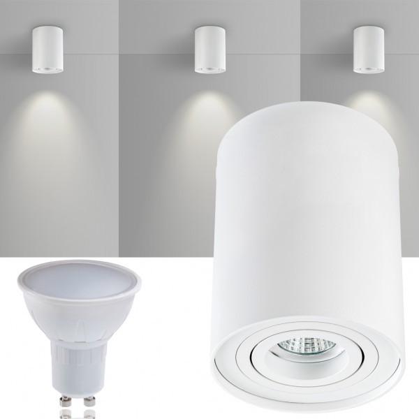 LED Aufbaustrahler Set ZYLINDER Weiss mit LED GU10  Markenstrahler von LEDANDO - 5W - warmweiss - 120° Abstrahlwinkel - schwenkbar - 35W Ersatz - A+ - Aluminium - Aufbauspot