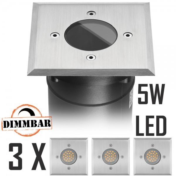 3er LED Bodeneinbaustrahler Set mit LED GU10 Markenstrahler von LEDANDO - 5W DIMMBAR - 345lm - warmweiß - eckig - IP67 - Blende Edelstahl - belastbar 2t - 50W Ersatz - 60° Abstrahlwinkel - A+ [Bodeneinbauleuchte Bodenleuchte Bodenlampe]