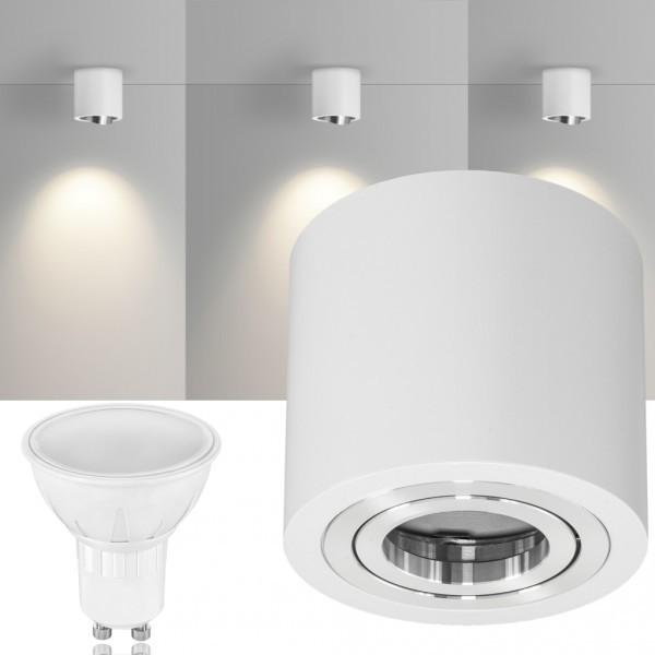 LED Aufbaustrahler Set GLOBE Weiss mit LED GU10  Markenstrahler von LEDANDO - 5W - warmweiss - 120° Abstrahlwinkel - schwenkbar - 35W Ersatz - A+ - Aluminium - Aufbauspot