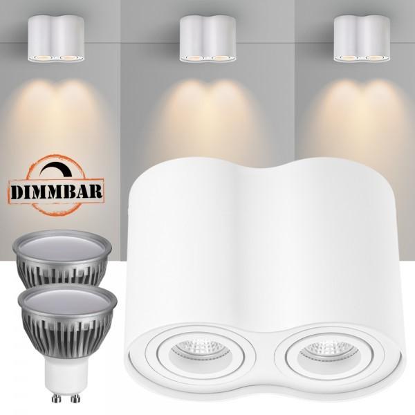 2er LED Aufbaustrahler Set ZYLINDER Weiss mit LED GU10  Markenstrahler von LEDANDO - 5W DIMMBAR - warmweiss - 110° Abstrahlwinkel - schwenkbar - 35W Ersatz - A+ - Aluminium - Aufbauspot