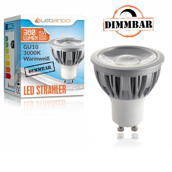 LEDANDO GU10 LED Strahler 5W COB DIMMBAR - warmweiß - 380lm - 40° Abstrahlwinkel ähnlich altes Halogen - 50W Ersatz - Energieeffizienzklasse A+ [ 5 W LED Spot - LED COB Leuchtmittel - LED Strahler 5 Watt Akzentbeleuchtung]