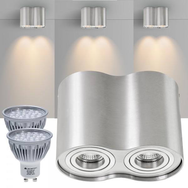 2er LED Aufbaustrahler Set ZYLINDER Aluminium mit LED GU10  Markenstrahler von LEDANDO - 5W - warmweiss - 60° Abstrahlwinkel - schwenkbar - 50W Ersatz - A+ - Aluminium - Aufbauspot