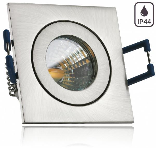 IP44 LED Mini Einbaustrahler Set in Silber gebürstet mit LED MR11 / GU5.3 Strahler von LEDANDO - 2W - 160lm - warmweiss - 60° Abstrahlwinkel - 20W Ersatz - Bad / Dusche - Terrassendach - Wintergarten