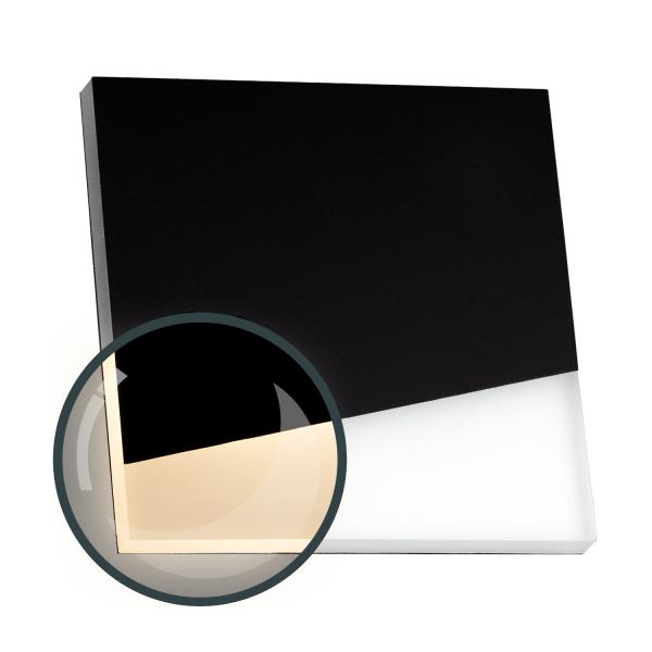 Flexible LED Treppenbeleuchtung mit  schwarzer Edelstahl-Abdeckung für Schalterdoseneinbau 68mm / 60mm oder Wandmontage - eckig - Warmweiß 3000K [Stufenbeleuchtung - Wandbeleuchtung - indirekt]