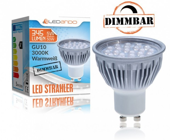 ledando gu10 5w dimmbar led strahler alu a led lampe. Black Bedroom Furniture Sets. Home Design Ideas
