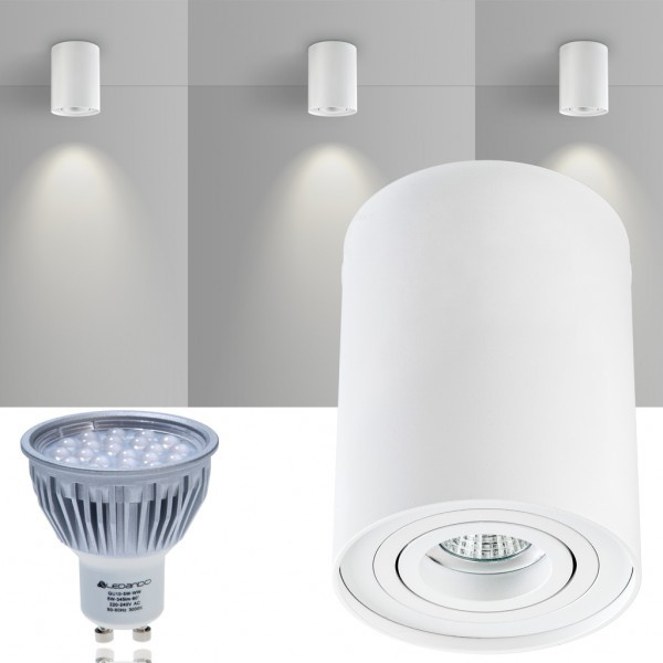 LED Aufbaustrahler Set ZYLINDER Weiss mit LED GU10  Markenstrahler von LEDANDO - 5W - warmweiss - 60° Abstrahlwinkel - schwenkbar - 50W Ersatz - A+ - Aluminium - Aufbauspot