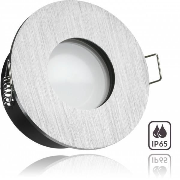IP65 LED Einbaustrahler Set Aluminium gebürstet mit LED GU10 Markenstrahler von LEDANDO - 5W - warmweiss - 120° Abstrahlwinkel - Feuchtraum / Bad - 35W Ersatz - A+ - LED Spot 5 Watt - Einbauleuchte rund