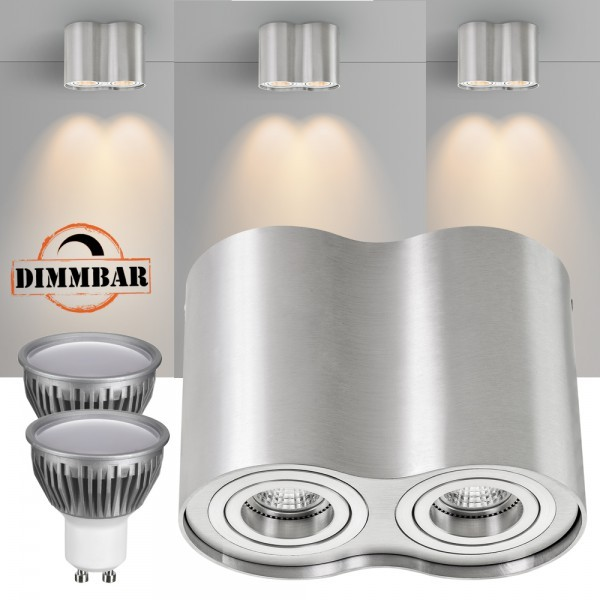 2er LED Aufbaustrahler Set ZYLINDER Aluminium mit LED GU10  Markenstrahler von LEDANDO - 5W DIMMBAR - warmweiss - 110° Abstrahlwinkel - schwenkbar - 35W Ersatz - A+ - Aluminium - Aufbauspot