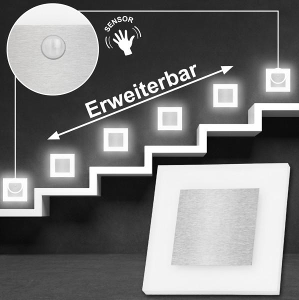 Set LED Treppenbeleuchtung Kaltweiß 6500K inklusive zwei Einheiten mit Bewegungsmelder und 15W Trafo