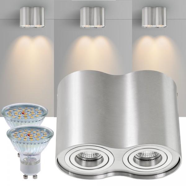 2er led aufbaustrahler set zylinder aluminium mit led gu10. Black Bedroom Furniture Sets. Home Design Ideas