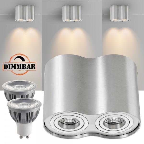 2er LED Aufbaustrahler Set ZYLINDER Aluminium mit LED GU10  Markenstrahler von LEDANDO - 5W DIMMBAR - warmweiss - 40° Abstrahlwinkel - schwenkbar - 50W Ersatz - A+ - Aluminium - Aufbauspot