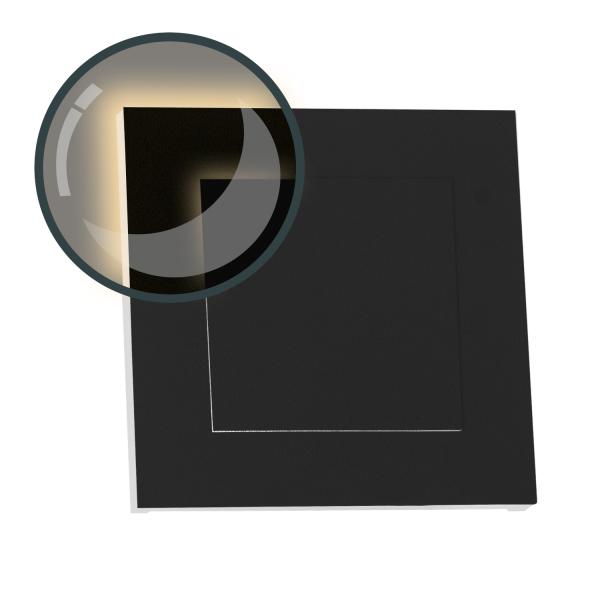 LED Treppenbeleuchtung DUPLEX aus Aluminium in eckig für Schalterdoseneinbau 68mm - Warmweiß 3000K - Farbe anthrazit [Stufenbeleuchtung - Wandbeleuchtung - indirekt]