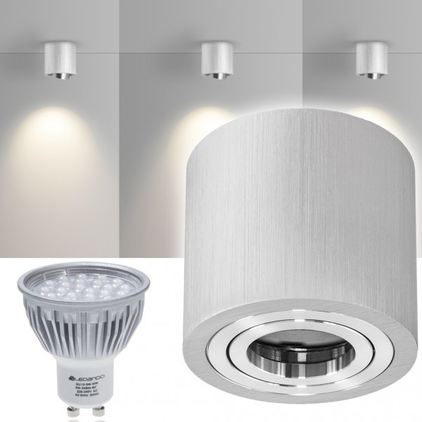 LED Aufbaustrahler Set GLOBE Bicolor mit LED GU10  Markenstrahler von LEDANDO - 5W - warmweiss - 60° Abstrahlwinkel - schwenkbar - 50W Ersatz - A+ - Aluminium - Aufbauspot