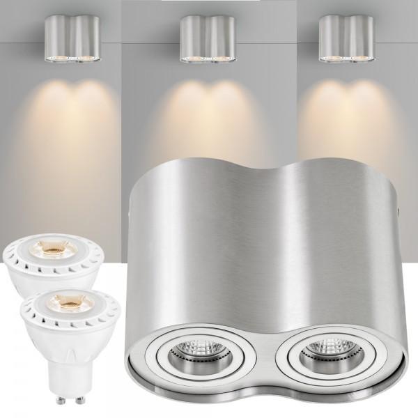 2er LED Aufbaustrahler Set ZYLINDER Aluminium mit LED GU10  Markenstrahler von LEDANDO - 7W COB Leuchtmittel - warmweiss - 30° Abstrahlwinkel - schwenkbar - 50W Ersatz - A+ - Aluminium - Aufbauspot