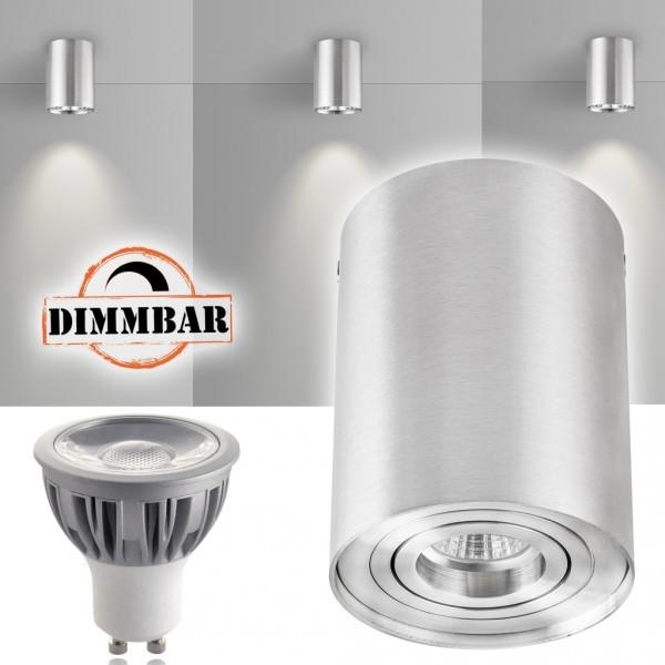 LED Aufbaustrahler Set ZYLINDER Aluminium mit LED GU10  Markenstrahler von LEDANDO - 5W DIMMBAR - warmweiss - 40° Abstrahlwinkel - schwenkbar - 50W Ersatz - A+ - Aluminium - Aufbauspot