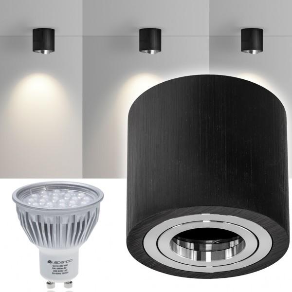 LED Aufbaustrahler Set GLOBE Schwarz mit LED GU10  Markenstrahler von LEDANDO - 5W - warmweiss - 60° Abstrahlwinkel - schwenkbar - 50W Ersatz - A+ - Aluminium - Aufbauspot