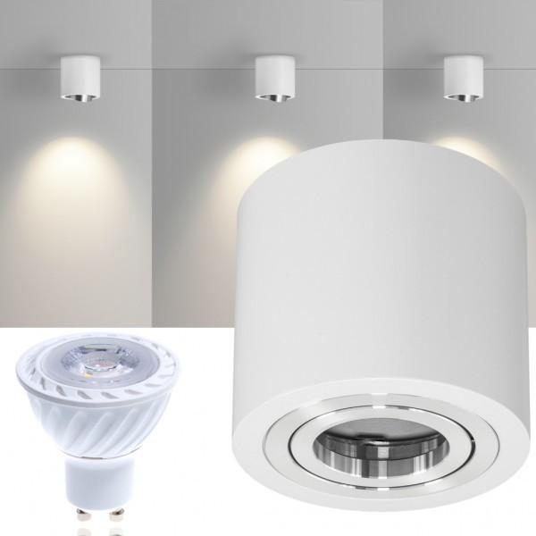 LED Aufbaustrahler Set GLOBE Weiss mit LED GU10  Markenstrahler von LEDANDO - 7W COB Leuchtmittel - warmweiss - 30° Abstrahlwinkel - schwenkbar - 50W Ersatz - A+ - Aluminium - Aufbauspot