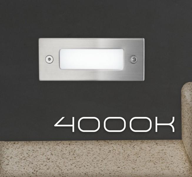 LED Einbauleuchte mit Edelstahlabdeckung und Milchglas für den Einsatz in Wand, Treppe oder Boden - Neutralweiß 4000K - Orientierungslicht mit max. 1W Leistung - 230V Direktanschluss - Schutzart IP54 - rechteckig