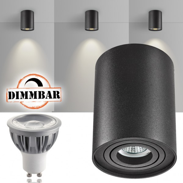 LED Aufbaustrahler Set ZYLINDER Schwarz mit LED GU10  Markenstrahler von LEDANDO - 5W DIMMBAR - warmweiss - 40° Abstrahlwinkel - schwenkbar - 50W Ersatz - A+ - Aluminium - Aufbauspot