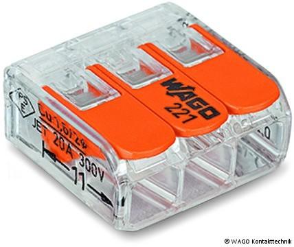 50er Paket WAGO COMPACT-Verbindungsklemme für alle Leiterarten ; 3-Leiter-Klemme mit Betätigungshebeln bis 4mm²