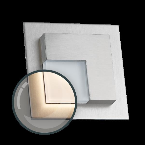 LED Treppenbeleuchtung mit Edelstahl-Abdeckung für Hohlwanddose / 60mm oder direkter Wandmontage im Steckdosenformat - eckig - Warmweiß 3100K [Stufenbeleuchtung - Wandbeleuchtung - indirekt]