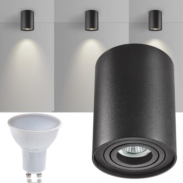 LED Aufbaustrahler Set ZYLINDER Schwarz mit LED GU10  Markenstrahler von LEDANDO - 5W - warmweiss - 120° Abstrahlwinkel - schwenkbar - 35W Ersatz - A+ - Aluminium - Aufbauspot