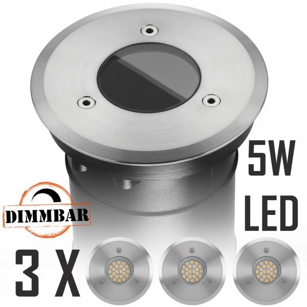 3er LED Bodeneinbaustrahler Set mit LED GU10 Markenstrahler von LEDANDO - 5W DIMMBAR - 345lm - warmweiß - rund - IP67 - Blende Edelstahl - belastbar 2t - 50W Ersatz - 60° Abstrahlwinkel - A+ [Bodeneinbauleuchte Bodenleuchte Bodenlampe]