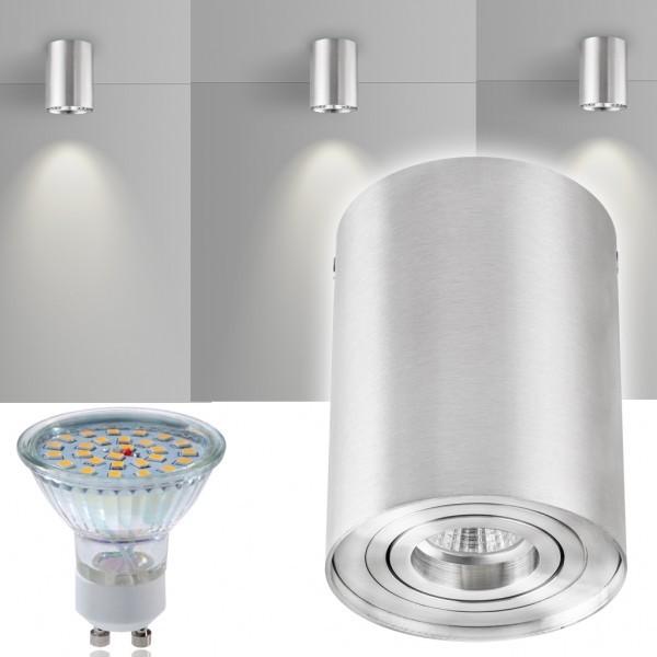 led aufbaustrahler set zylinder aluminium mit led gu10. Black Bedroom Furniture Sets. Home Design Ideas