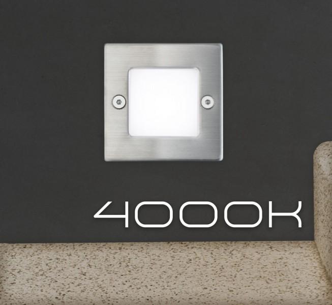 LED Einbauleuchte mit Edelstahlabdeckung und Milchglas für den Einsatz in Wand, Treppe oder Boden - neutralweiß 4000K - Orientierungslicht mit max. 1W Leistung - 230V Direktanschluss - Schutzart IP54 - quadratisch