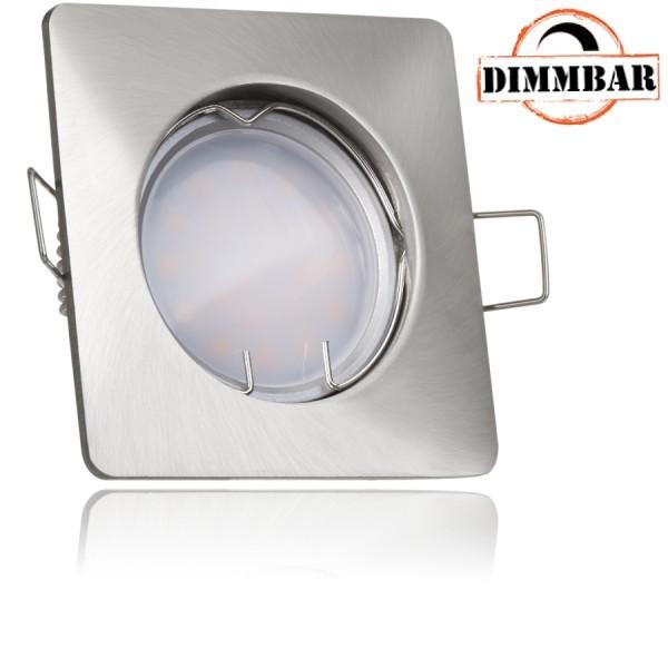 LED Einbaustrahler Set Silber gebürstet mit LED GU10 Markenstrahler von LEDANDO - 5W DIMMBAR - warmweiss - 110° Abstrahlwinkel - 35W Ersatz - A+ - LED Spot 5 Watt - Einbauleuchte LED eckig