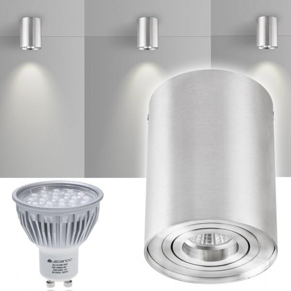 LED Aufbaustrahler Set ZYLINDER Aluminium mit LED GU10  Markenstrahler von LEDANDO - 5W - warmweiss - 60° Abstrahlwinkel - schwenkbar - 50W Ersatz - A+ - Aluminium - Aufbauspot