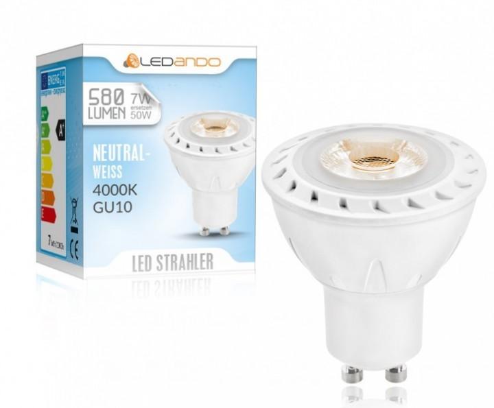 neutralweiss 4000k ledando gu10 cob led strahler 7w 580lm 30 abstrahlwinkel reflektor. Black Bedroom Furniture Sets. Home Design Ideas