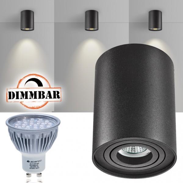 LED Aufbaustrahler Set ZYLINDER Schwarz mit LED GU10  Markenstrahler von LEDANDO - 5W DIMMBAR - warmweiss - 60° Abstrahlwinkel - schwenkbar - 50W Ersatz - A+ - Aluminium - Aufbauspot