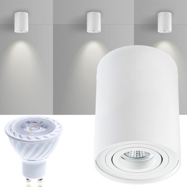 LED Aufbaustrahler Set ZYLINDER Weiss mit LED GU10  Markenstrahler von LEDANDO - 7W COB Leuchtmittel - warmweiss - 30° Abstrahlwinkel - schwenkbar - 50W Ersatz - A+ - Aluminium - Aufbauspot