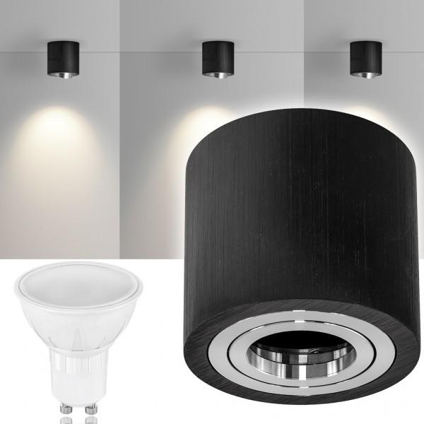 LED Aufbaustrahler Set GLOBE Schwarz mit LED GU10  Markenstrahler von LEDANDO - 5W - warmweiss - 120° Abstrahlwinkel - schwenkbar - 35W Ersatz - A+ - Aluminium - Aufbauspot