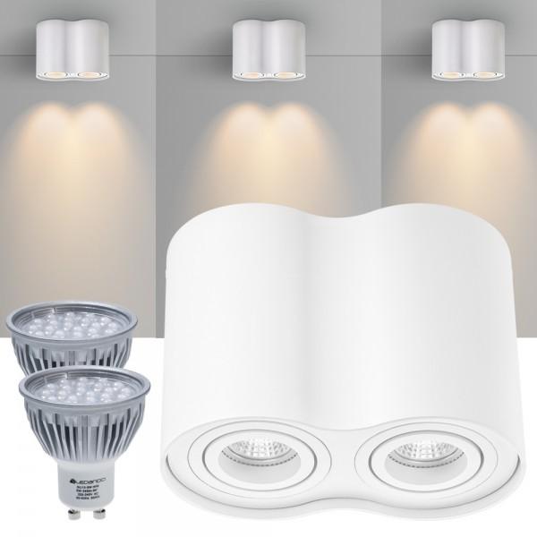 2er LED Aufbaustrahler Set ZYLINDER Weiss mit LED GU10  Markenstrahler von LEDANDO - 5W - warmweiss - 60° Abstrahlwinkel - schwenkbar - 50W Ersatz - A+ - Aluminium - Aufbauspot