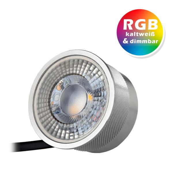 RGB LED SPOT 3W mit dimmbarer Farbtemperatur - 11 Farben + Kaltweiß - Dimmbar - Farbwechsel per Fernbedienung oder Lichtschalter