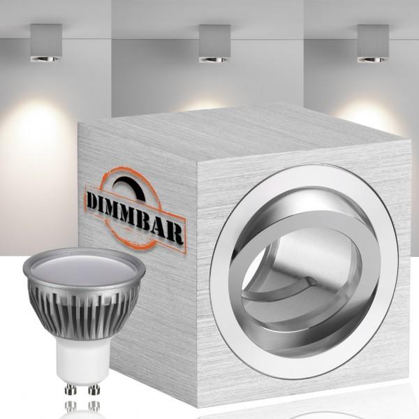 LED Aufbaustrahler Set CUBE mit LED GU10  Markenstrahler von LEDANDO - 5W DIMMBAR - warmweiss - 110° Abstrahlwinkel - schwenkbar - 35W Ersatz - A+ - Aluminium - Aufbauspot